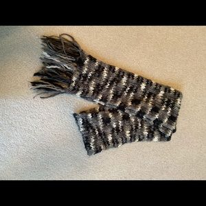 Black grey and white scarf.